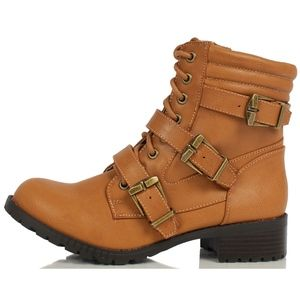 Shoes - Size 5.5  Tan Triple Buckle Combat Ankle Boot